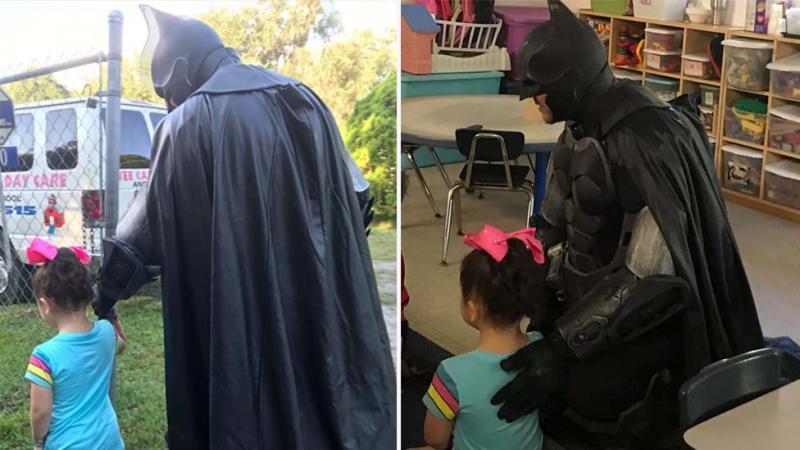 Batman of Spring Hill, Jack Asbury III, accompanies bullied three-year-old to her preschool in Florida.