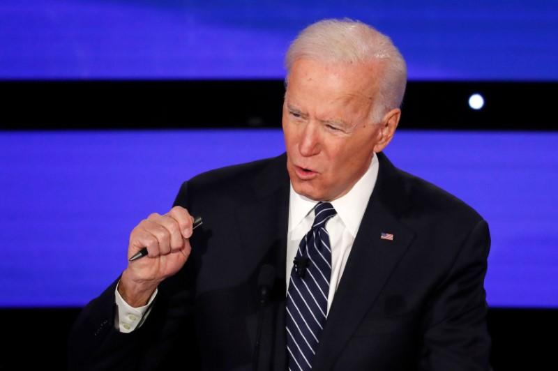 Democratic 2020 U.S. presidential candidate former Vice President Joe Biden speaks at the seventh Democratic 2020 presidential debate at Drake University in Des Moines