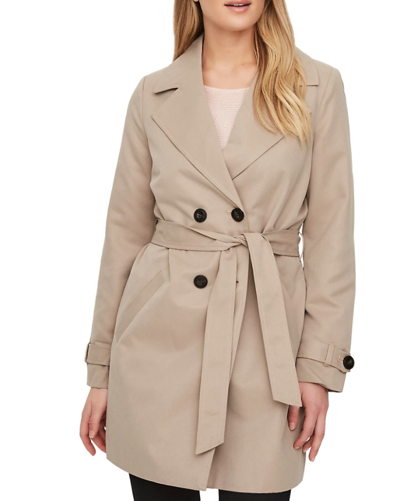 This short, double breasted trench features a self-tie belt and side pockets - and an incredibly affordable price tag!