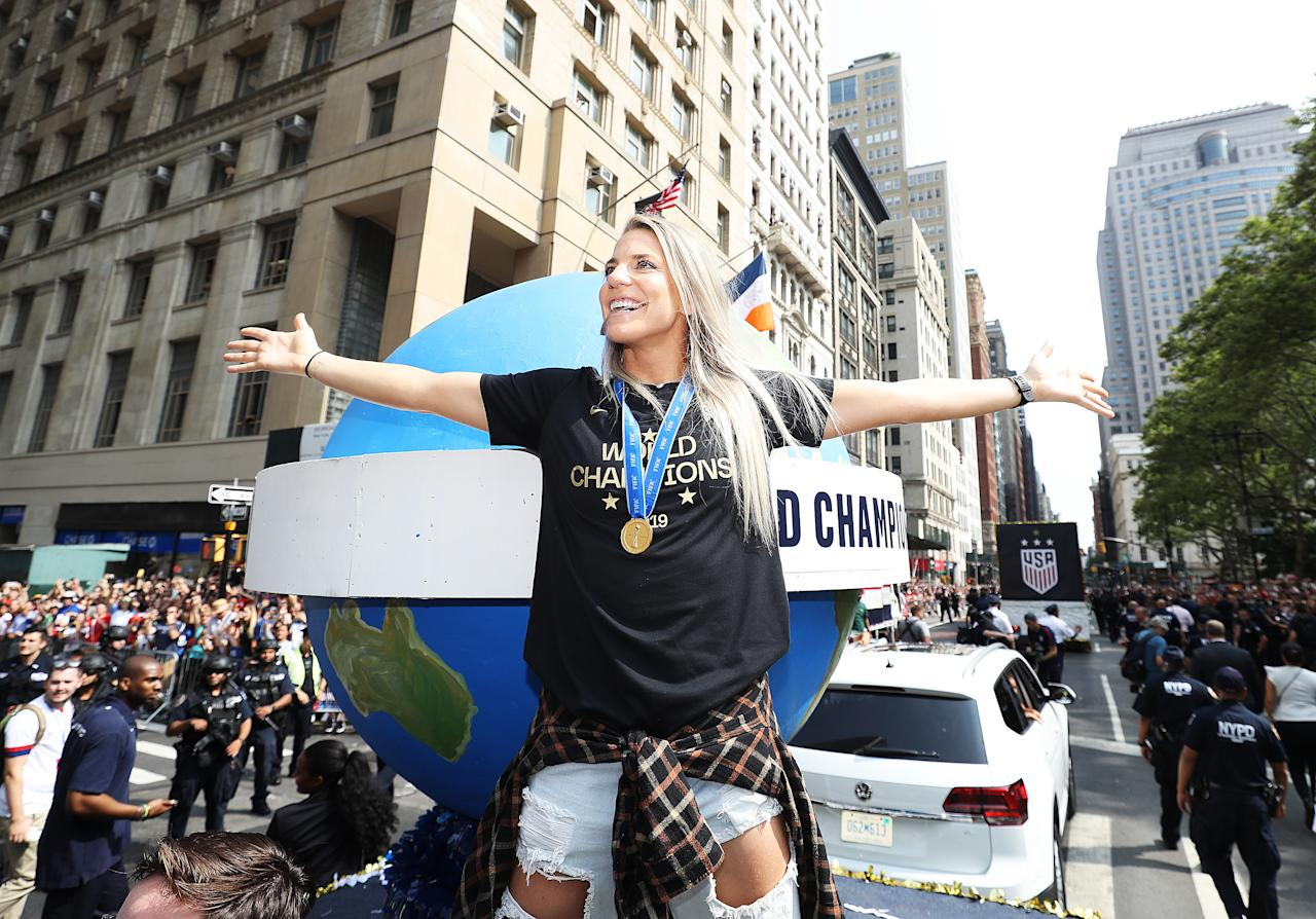 Julie Ertz celebrates during the U.S. Women's National Soccer Team Victory Parade and City Hall Ceremony on July 10, 2019 in New York City. (Photo by Al Bello/Getty Images)