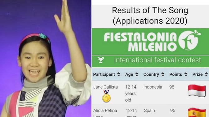 Jane Callista (12th), berhasil memenangkan 2 kompetisi vokal secara online (ist)