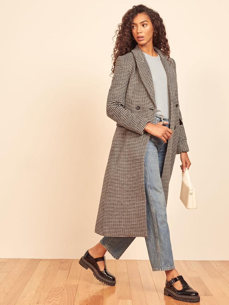 Reformation's York Coat is a double breasted option with shawl collar.