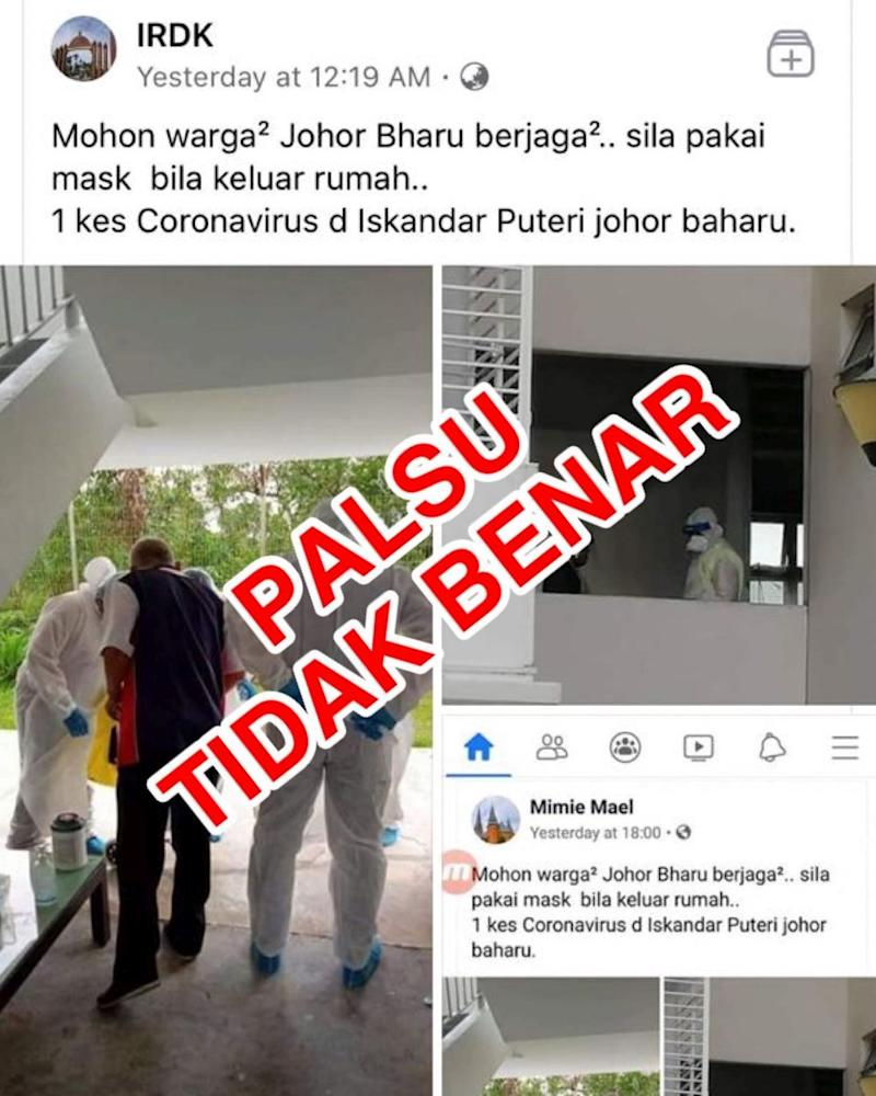 A screengrab of the fake post on claims that the Covid-19 virus has reached Iskandar Puteri district in Johor. — Picture courtesy of the Johor Health Department via Facebook