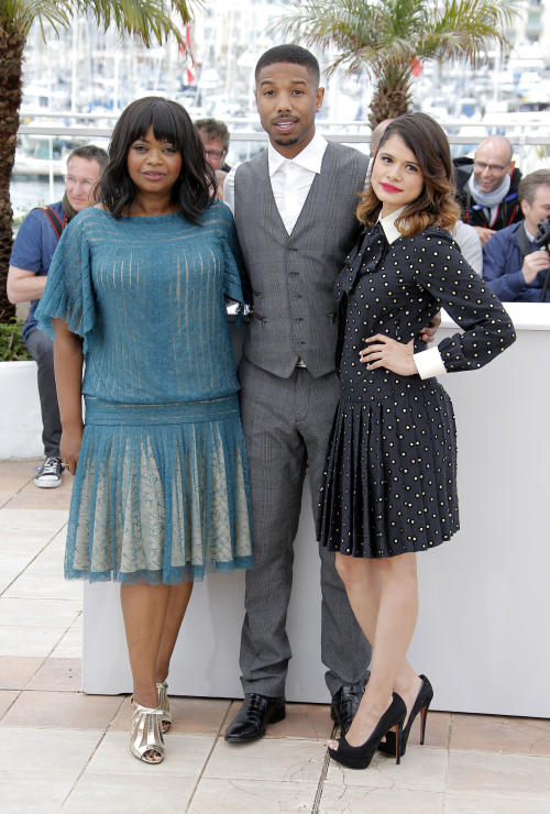 Actors Octavia Spencer, Michael B. Jordan and Melonie Diaz pose for photographers during a photo call for the film Fruitvale Station at the 66th international film festival, in Cannes, southern France, Thursday, May 16, 2013. (AP Photo/Lionel Cironneau)