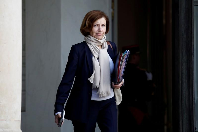FILE PHOTO: French Defence Minister Florence Parly leaves the Elysee Palace following a cabinet meeting in Paris