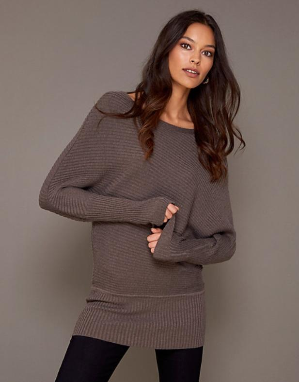 Eco-Conscious Rib Knit Tunic Sweater. Image via Le Chateau.
