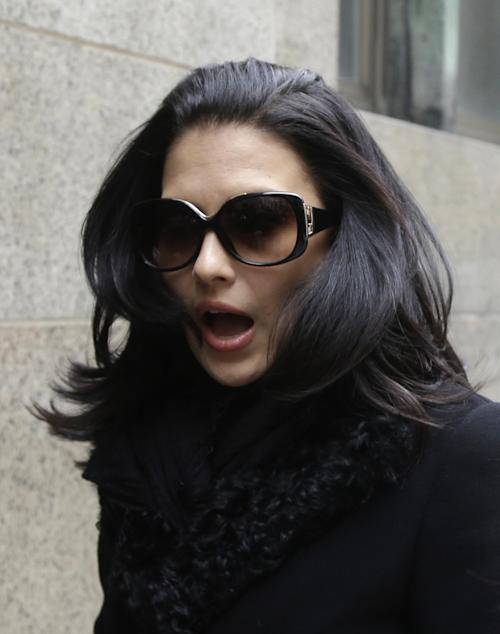 Hilaria Baldwin, wife of actor Alec Baldwin, arrives to court in New York, Tuesday, Nov. 12, 2013. Alec Baldwin testified Tuesday that he never had a sexual or romantic relationship with a Canadian actress accused of stalking him, saying that after they met she began leaving dozens of voicemails for him a night and eventually started threatening to show up at his homes. Hilaria Baldwin also is expected to testify. (AP Photo/Seth Wenig)