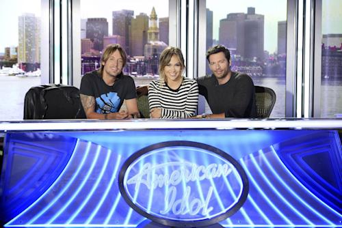 "FILE - This 2013 file publicity photo released by FOX shows American Idol XIII judges, from left, Keith Urban, Jennifer Lopez and Harry Connick Jr. One thing about season 13 of ""American Idol"" is that unlike last season, the judges seem to be getting along. (AP Photo/FOX, Michael Becker)"
