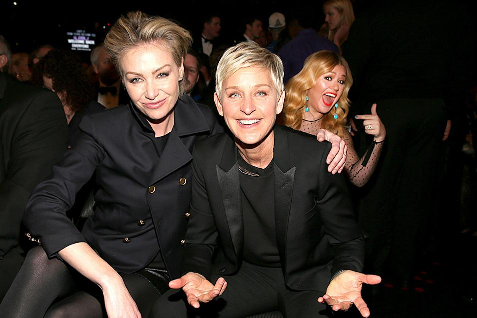 Grammys 2013 Most Memorable Photos from Grammy Night: Kelly Clarkson, Portia de Rossi and Ellen DeGeneres