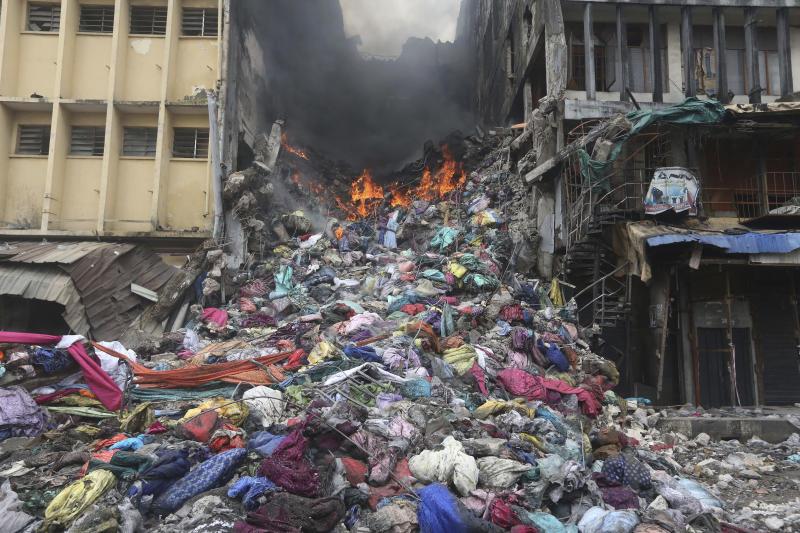 The scene of a fire in Balogun Market in downtown Lagos, Nigeria, Wednesday, Nov. 6, 2019. (Photo: Sunday Alamba/AP)