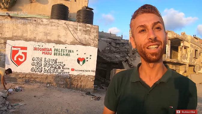 Simak kisah mural HUT RI ke-75 buatan anak-anak Gaza (Foto: Youtube @Muhammad Husein Gaza)