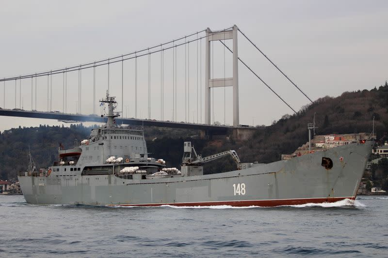 FILE PHOTO: The Russian Navy's large landing ship Orsk sets sail in Istanbul's Bosphorus