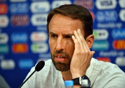 Relaxed: Gareth Southgate played down the row with the British media