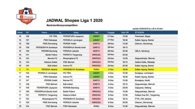 Jadwal lanjutan Liga 1 (3) (Istimewa)