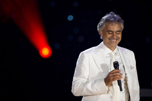 FILE - In this Sept. 16, 2011 file photo, Andrea Bocelli performs a free outdoor concert on Central Park's Great Lawn, in New York. The 55-year-old tenor says he'll receive a master's degree in vocal performance from The Conservatory of Music, Giacomo Puccini in La Spezia, Italy, on Tuesday, Oct. 22, 2013. (AP Photo/Charles Sykes, File)