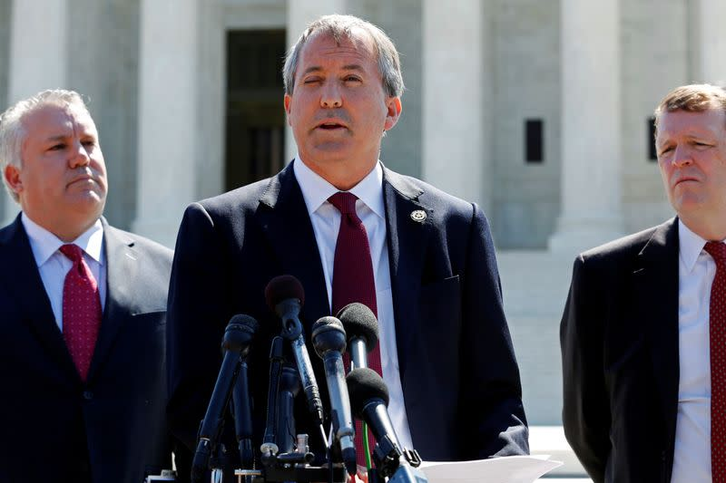 FILE PHOTO: Paxton holds a news conference to announce Texas and 20 other states have filed a lawsuit against the state of Delaware, at the Supreme Court building in Washington