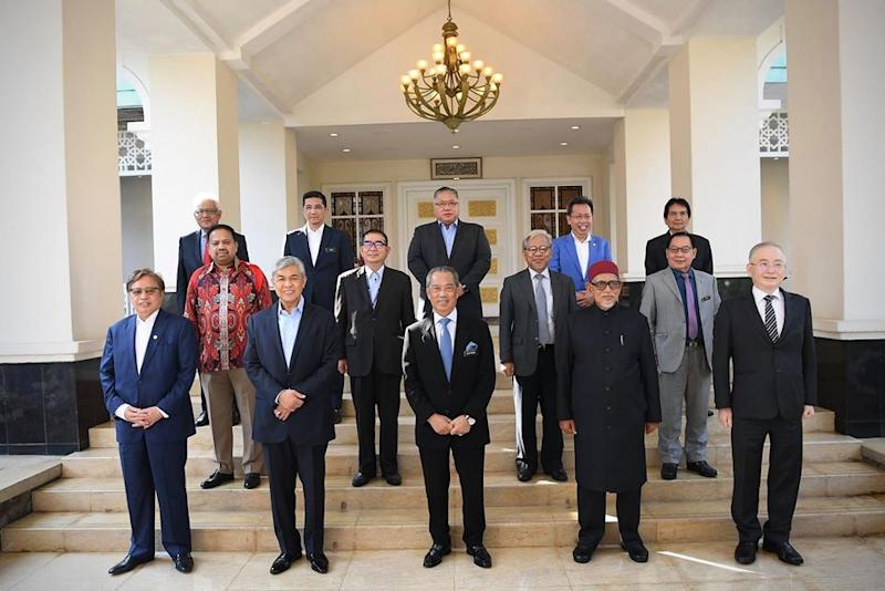 Prime Minister Tan Sri Muhyiddin Yassin with the heads of 12 political parties in Putrajaya, July 1, 2020. In a joint-statement today all parties under the PN coalition have voiced their support for Prime Minister and Bersatu president Muhyiddin. — Picture from Facebook/Muhyiddin Yassin
