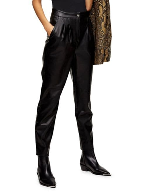 TOPSHOP High-Waist Faux Leather Peg Trousers