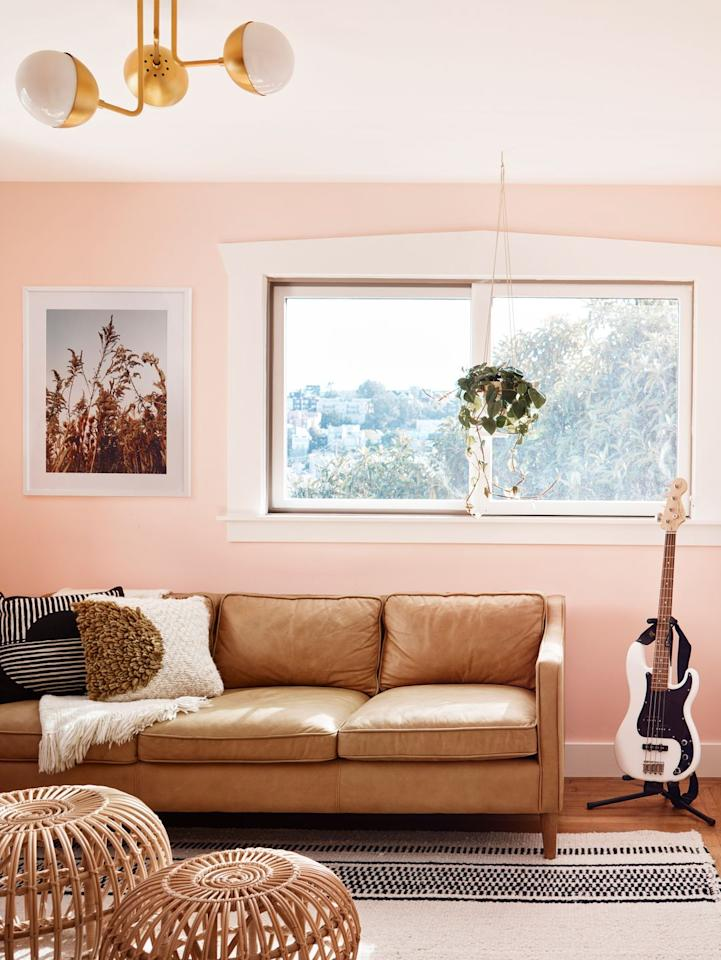 "<p>""We are loving First Light by Benjamin Moore—a little bit pink, a little bit peach—for its youthful, happy feel. Use it in a teen room, a powder room, or really anywhere you want to create a fun space."" — <em>Kristen Peña, <a href=""http://kinteriors.com/"" target=""_blank"">K Interiors</a></em></p>"