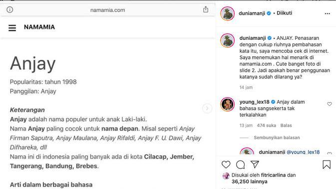 Anji Temukan Fakta Menarik Soal Kata Anjay yang Dilarang. (instagram.com/duniamanji)