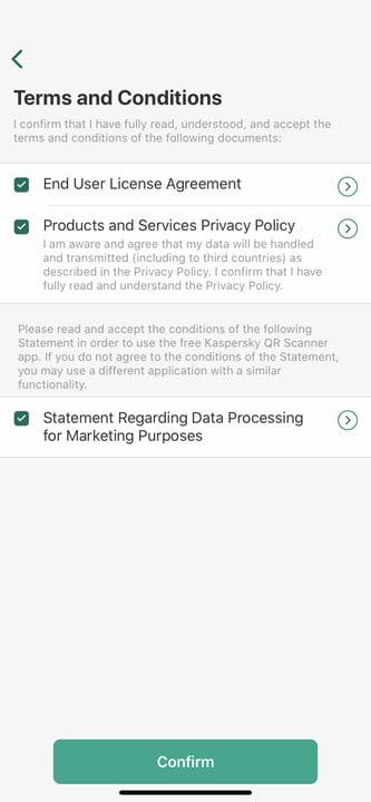 Scanning a QR code using Kaspersky app
