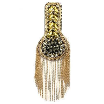Shoulder Patches Tassel Suit Crystal Epaulet Fringe Shoulder Badge Rhinestone Applique for wedding Dance Punk Costume