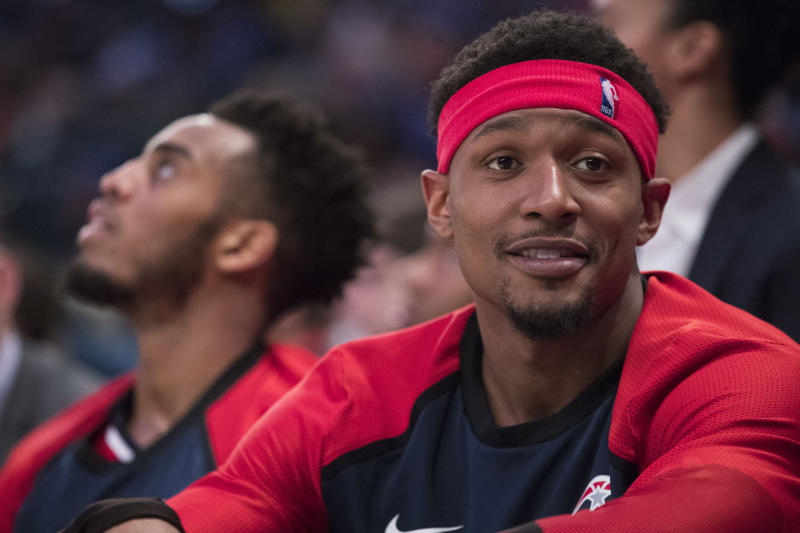 Washington Wizards guard Bradley Beal reacts from the bench during the second half of an NBA basketball game against the New York Knicks, Sunday, April 7, 2019, at Madison Square Garden in New York. The Knicks won 113-110. (AP Photo/Mary Altaffer)