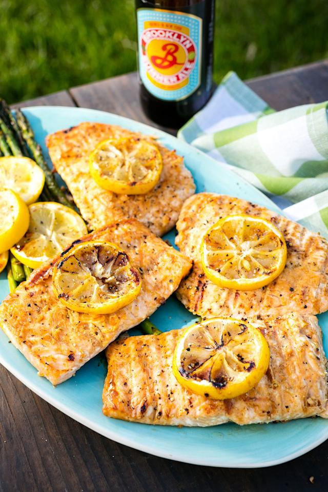 """<p>This simple recipe brings a burst of summer flavor to the table.</p><p>Get the recipe from <a href=""""/cooking/recipe-ideas/recipes/a47378/lemony-grilled-salmon-recipe/"""" target=""""_blank"""">Delish</a>.</p>"""