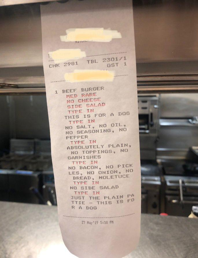 Photo of burger order with 16 changes.