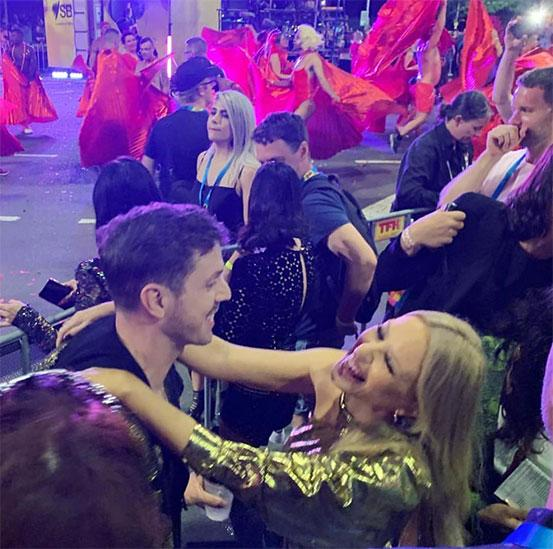 <p>Jake Shears from the Scissor Sisters, who is one of Kylie's best mates, was seen dancing with the Aussie star in the crowd. Photo: Instagram/Kiis1065 </p>