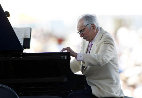 FILE - In this Aug. 8, 2010 file photo, composer Dave Brubeck plays at his last appearance at the Newport Jazz Festival in Newport, R.I. Brubeck died in Connecticut Wednesday morning, Dec. 5, 2012, of heart failure after being stricken while on his way to a cardiology appointment with his son Darius. Brubeck would have turned 92 on Thursday, Dec. 6 (AP Photo/Joe Giblin, File)