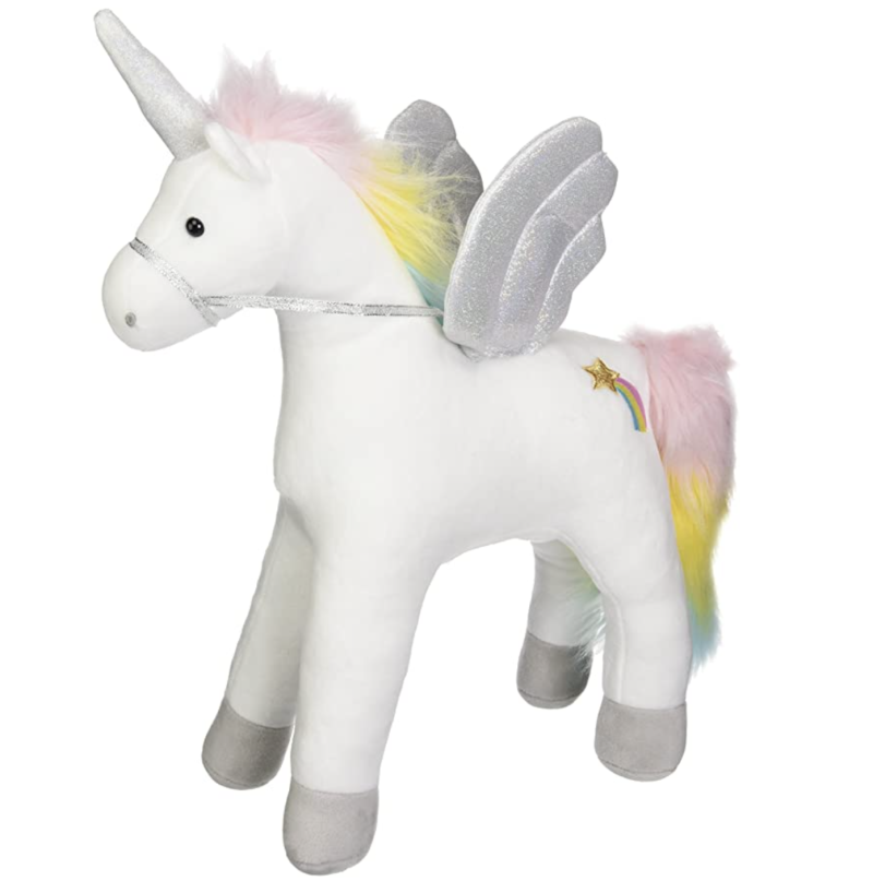 Unicorn plush toy.