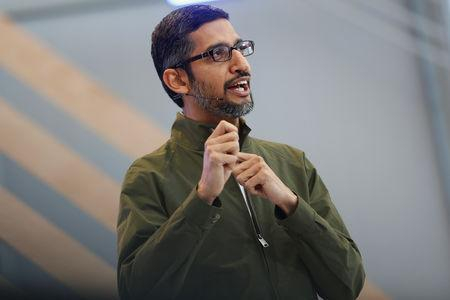 FILE PHOTO: Google CEO Sundar Pichai speaks on stage during the annual Google I/O developers conference in Mountain View, California, May 8, 2018. REUTERS/Stephen Lam