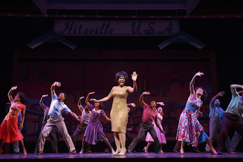 "This theater image released by Boneau/Bryan-Brown shows, Saycon Sengbloh as Martha Reeves, center, in ""Motown: The Musical,"" performing at the Lunt-Fontanne Theatre in New York. (AP Photo/Boneau/Bryan-Brown, Joan Marcus)"