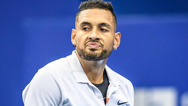 Nick Kyrgios, pictured here playing at the Zhuhai Championships in China.