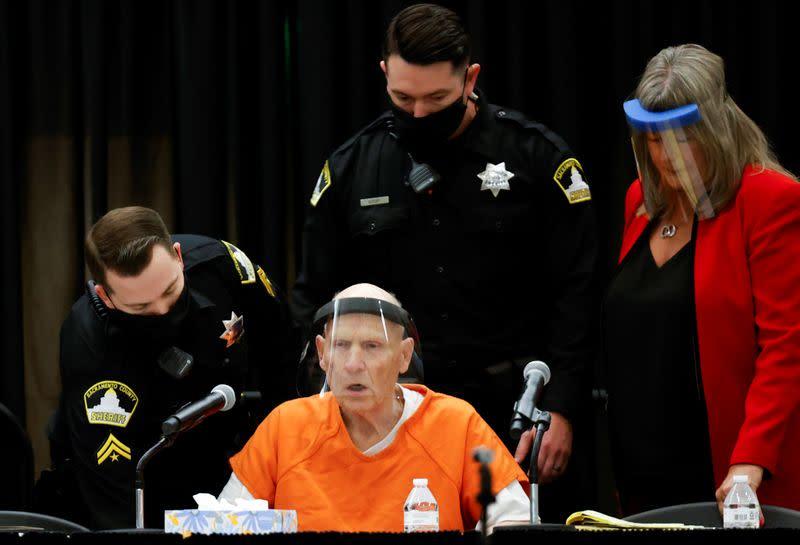 Former police officer Joseph James DeAngelo Jr. attends a hearing in Sacramento