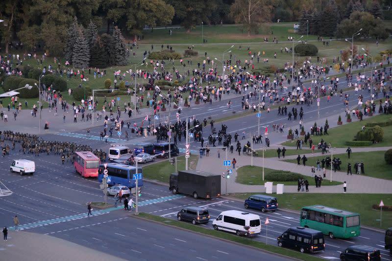 Belarus police detain dozens as crowds chant against Lukashenko