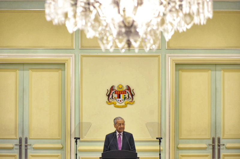 Interim Prime Minister Tun Mahathir Mohamad speaks during the economic stimulus package announcement at Perdana Putra building in Putrajaya February 27, 2020. — Picture by Shafwan Zaidon