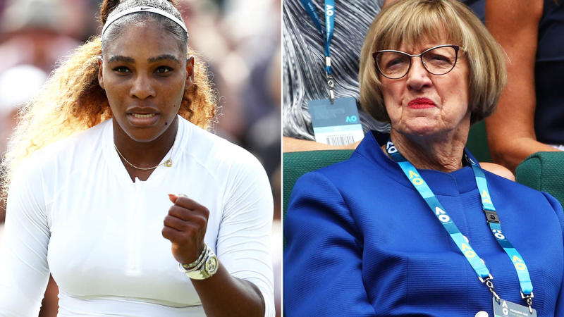 Serena Williams is gunning for Margaret Court's record at Wimbledon. Image Getty