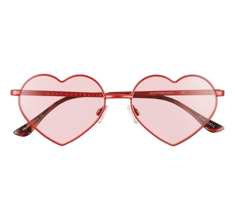 Quay Australia Heartbreaker 55mm Tinted Heart Sunglasses. Image via Nordstrom.