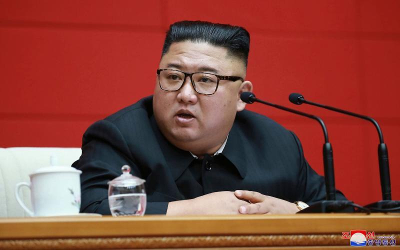 Kim Jong-un attends a ruling party meeting in Pyongyang, North Kore - KCNA via KNS