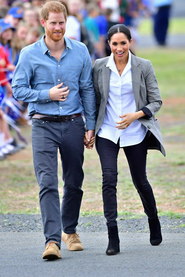 <p>Meghan Markle gave a shout out to her good mate Serena Williams with her outfit choice for the second day of her tour of Australia, New Zealand, Tonga and Fiji. Photo: Getty </p>
