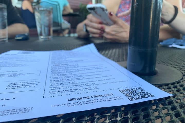 A QR code on a menu