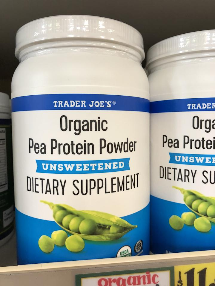 """<p>At 100 calories per serving and 20 grams of <a href=""""https://www.popsugar.com/fitness/Plant-Based-Protein-Powder-Comparison-33521911"""" class=""""ga-track"""" data-ga-category=""""Related"""" data-ga-label=""""https://www.popsugar.com/fitness/Plant-Based-Protein-Powder-Comparison-33521911"""" data-ga-action=""""In-Line Links"""">plant-based protein</a>, this Organic Pea Protein Powder is just $12 for 18 servings - such a steal! It's unsweetened, but with all the fruit you add to your blender, it'll taste plenty sweet. Try this <a href=""""https://www.popsugar.com/fitness/Strawberry-Milkshake-Smoothie-41532039"""" class=""""ga-track"""" data-ga-category=""""Related"""" data-ga-label=""""https://www.popsugar.com/fitness/Strawberry-Milkshake-Smoothie-41532039"""" data-ga-action=""""In-Line Links"""">strawberry milkshake protein smoothie</a>.</p>"""