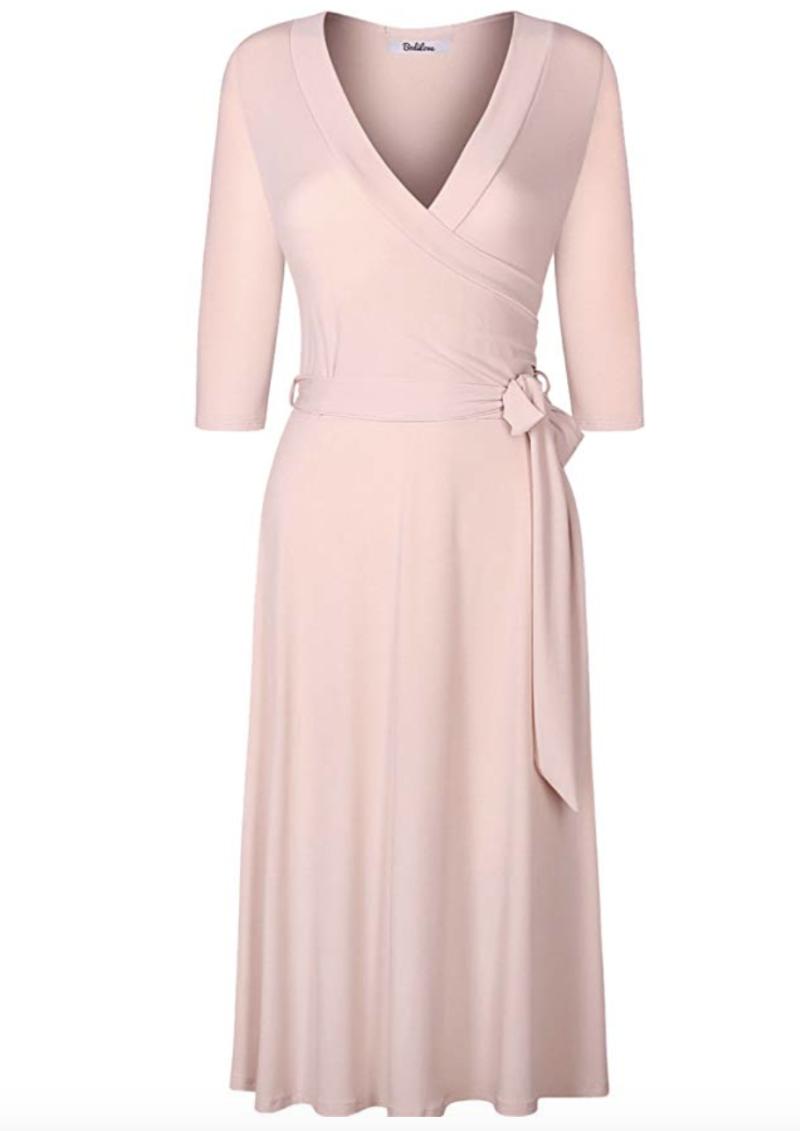 BodiLove Women's 3/4 Sleeve V-Neck Solid Knee Length Wrap Dress. (Photo: Amazon)