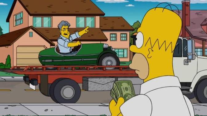 Kebiasaan Leno berburu mobil klasik jadi inspirasi dalam jalan cerita serial animasi The Simpson terbaru.