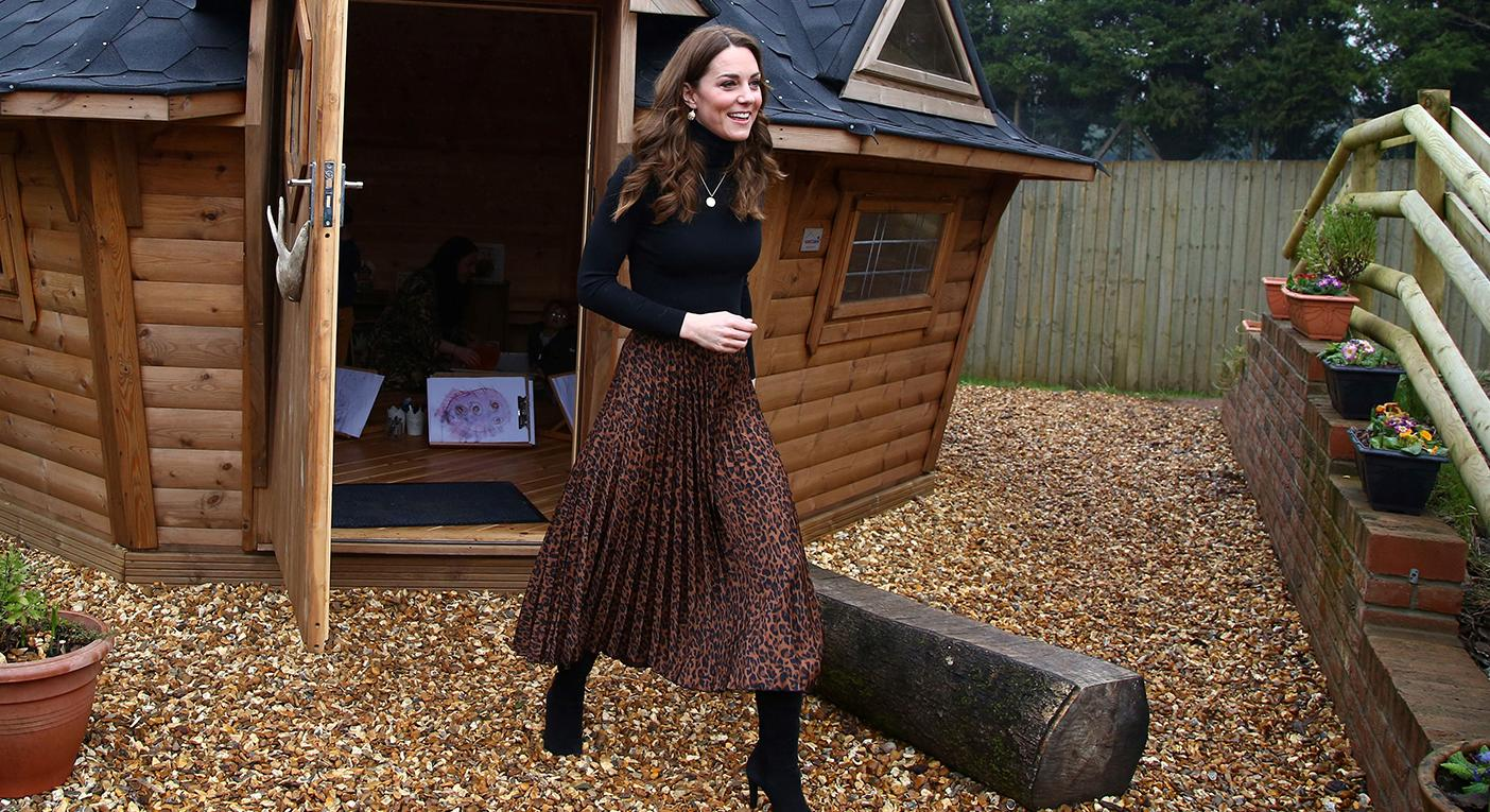 The Duchess of Cambridge visited the Careau Children's Centre on Wednesday wearing a leopard print skirt. [Photo: Getty]