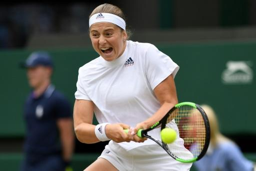 Latvia's Jelena Ostapenko is in her first Wimbledon semi-final