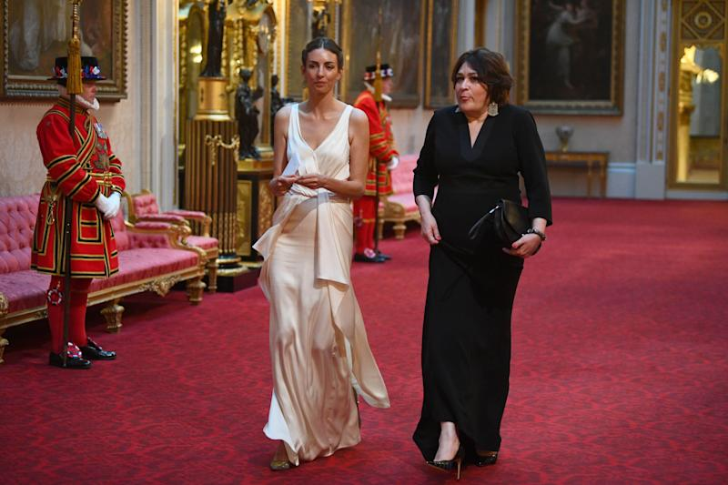 Rose Cholmondeley arrives at the state banquet for President Trump at Buckingham palace