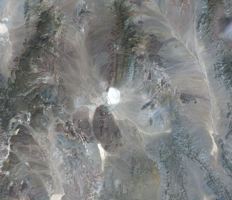 This is an enhanced overview satellite image of Area 51 in southern Nevada, United States.